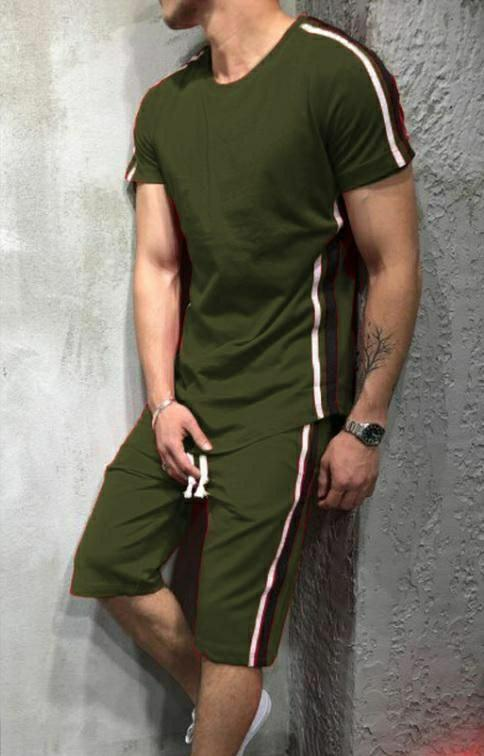 Men Green Polyknit Active Tshirt with Shorts