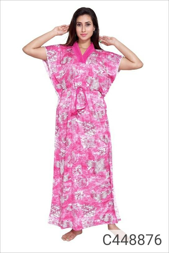 Trendy Satin Printed Night Dresses