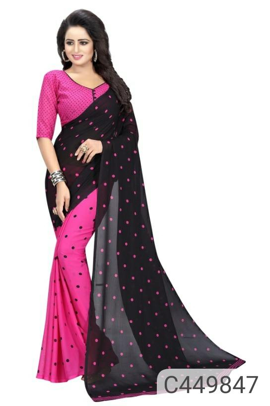 Pretty Georgette Printed Dot Regular Saree