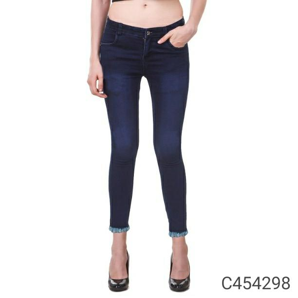 Women's Unique Denim Solid Jeans