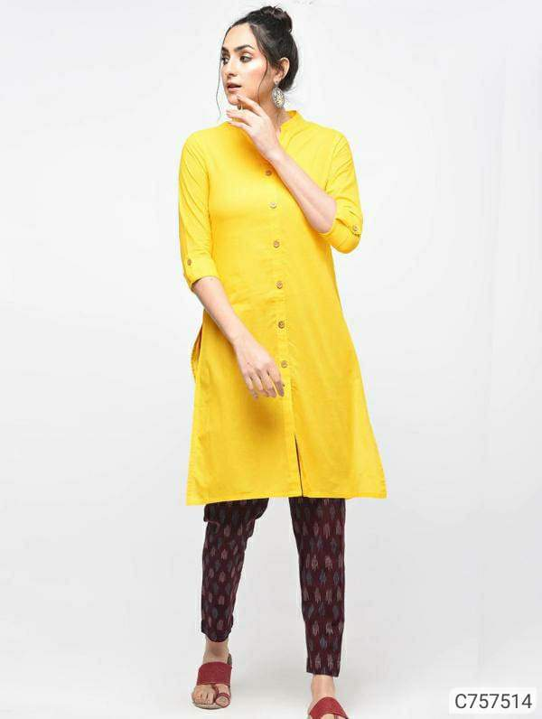 Gorgeous Cotton Solid With Button A-line Regular Kurtis