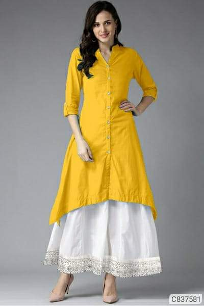 Gorgeous Cotton Solid With Button  Knee Length Kurtis-Palazzo Sets
