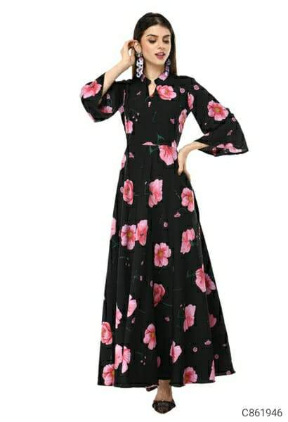 Women's 3/4 Sleeve Crepe Printed Maxi Dresses