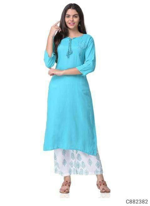 Trendy Rayon Solid With Printed Kurti & Palazzo Sets