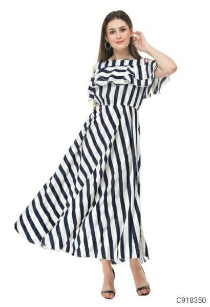 Women's Georgette Cold Shoulder Maxi Dresses