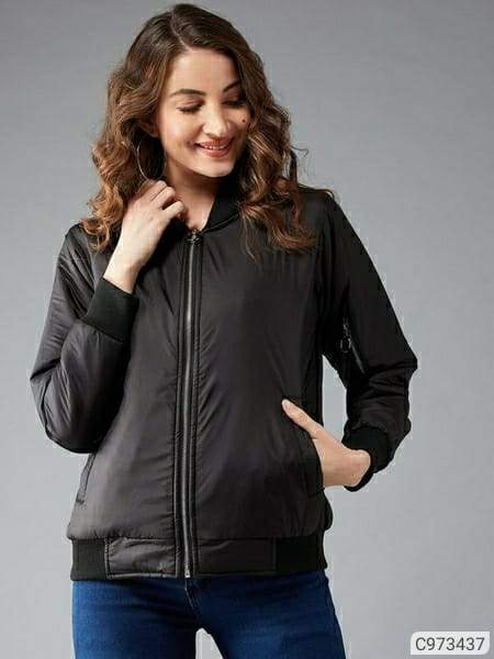 Women's Polyester Solid Jackets