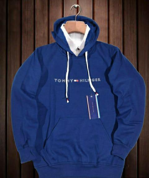 Cotton Solid Royal Blue Men Hoodies