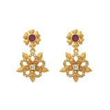 Gold plated flower design earring