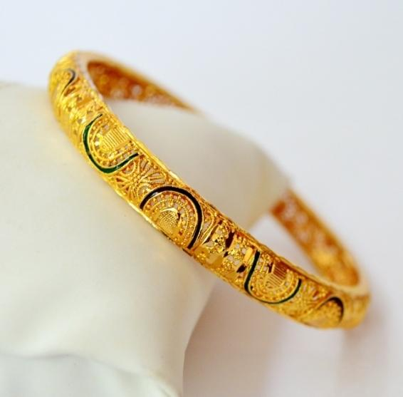 Gold plated enamel bangle