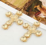 NAIZHU Fashion Cross Drop Earrings for Women Baroque Gold color Large Long Earrings Jewelry Brinco