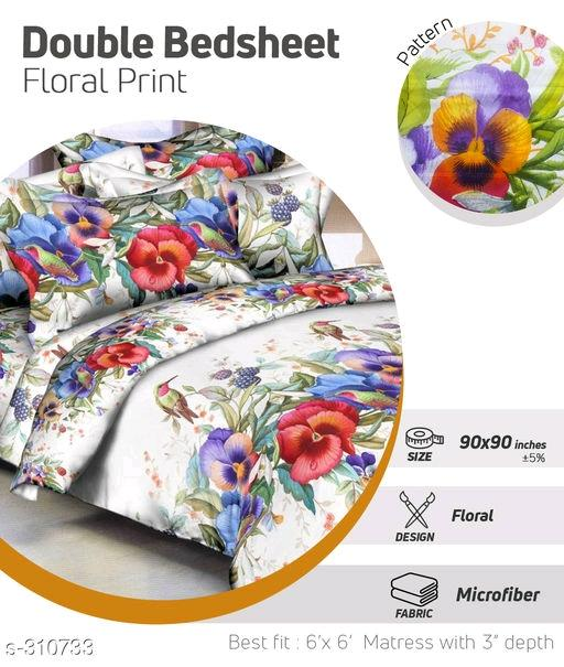 Colorful Printed Microfiber Double Bedsheets Vol 5