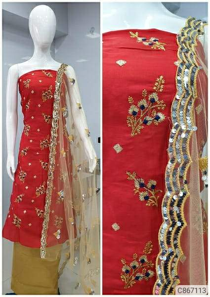 Adorable Satin Silk Embroidered Dress Materials