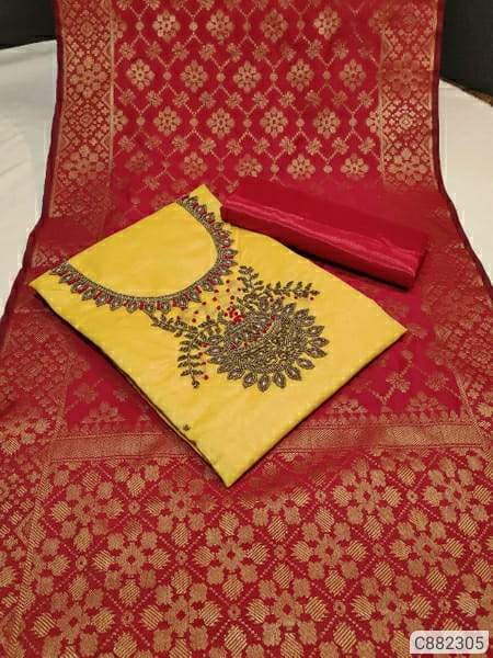 Stunning Chanderi Silk Hand Work Un-stitched Dress Materials