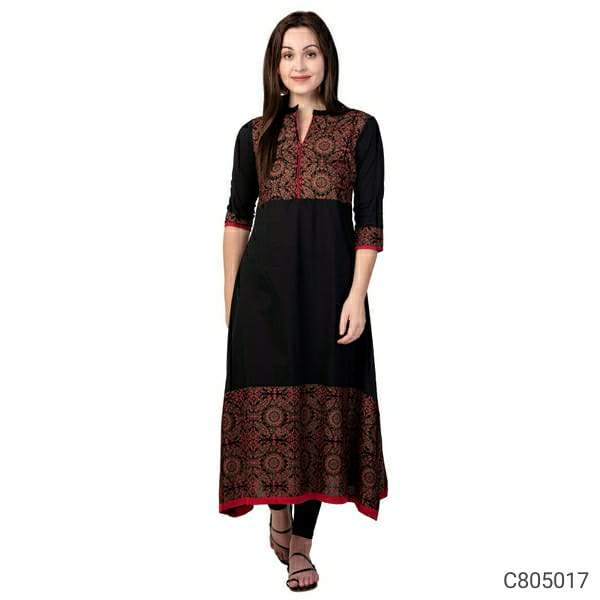 Adorable Cotton Printed Calf Length A-Line Kurtis