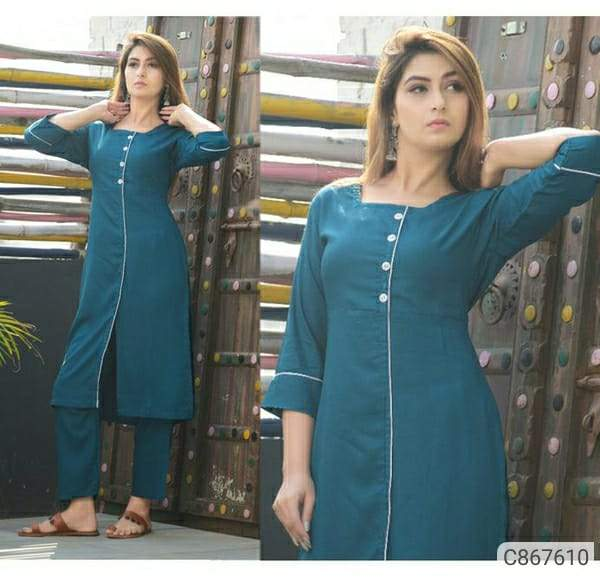 Attractive Rayon Solid With Button Kurti Pant Sets