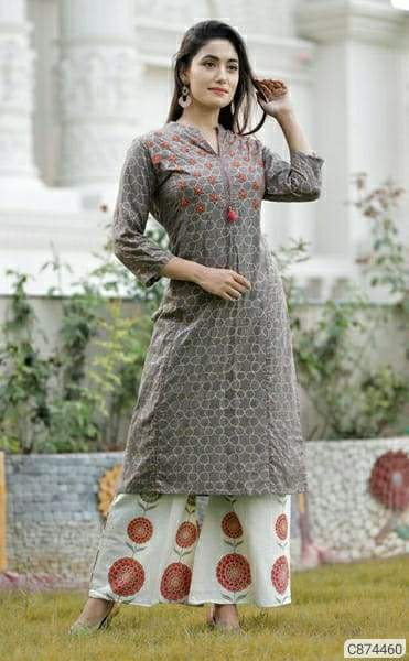 Latest Rayon Printed Calf Length Kurti Sets