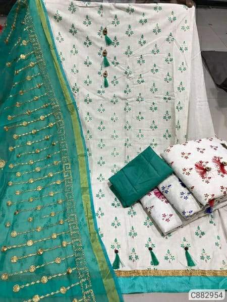 Latest Cotton Printed With Tassels Semi-Stitched Dress Materials