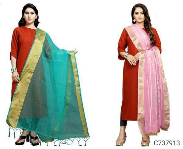 Delightful Organza Zari Border Dupattas (Pack of 2)
