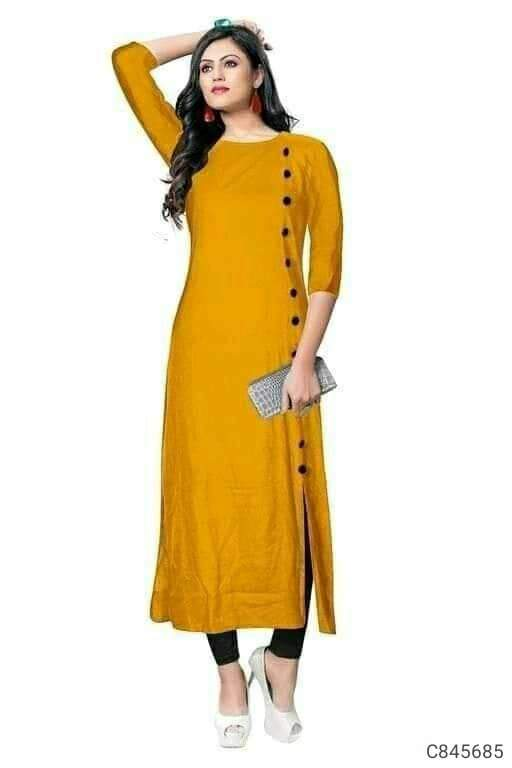 Simple Rayon Solid with Buttons Work 3/4th Sleeves Round Neck Straight Kurtis