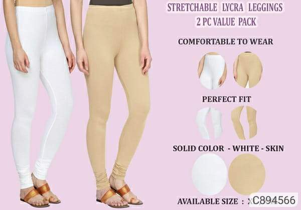 Cotton Lycra Solid Women Leggings Pack of 2