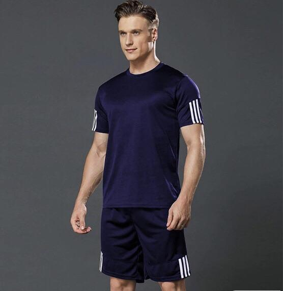 PolyKnit Solid Active T-Shirt with Mens shorts NBTS