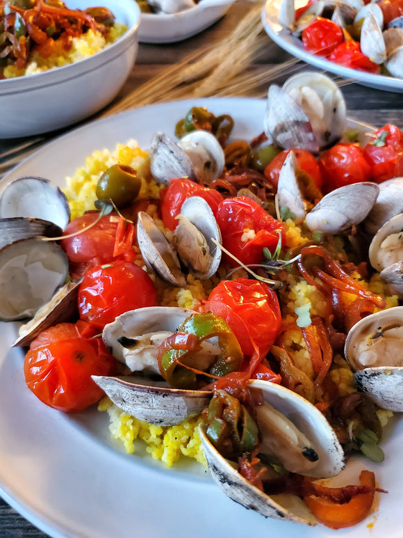 Steamed Clams with Blistered Tomatoes and Fresh Basil