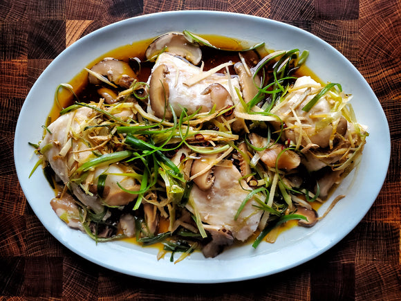 CANTONESE STEAMED GINGER SCALLION HALIBUT