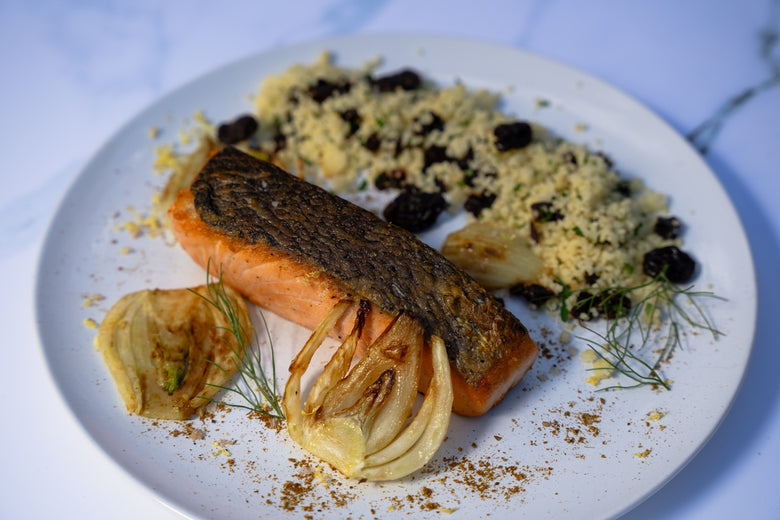Crispy Skin Salmon with Honey Brown Butter, Roast Fennel & Lemon Couscous Recipe