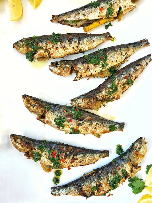 Tasty Grilled (Broiled) Portuguese Sardines