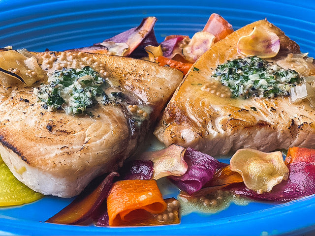 Pan Roasted Swordfish with Shaved Root Vegetables & Warm Mustard Seed Vinaigrette Recipe