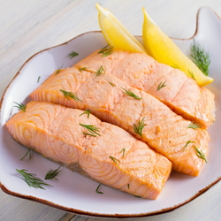 ATLANTIC SALMON POACHED WITH YOGURT DILL GARNISH, 2 - 8 OZ PORTIONS