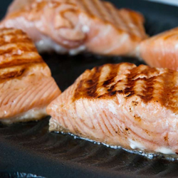 GRILLED ATLANTIC SALMON, SCAMPI STYLE -