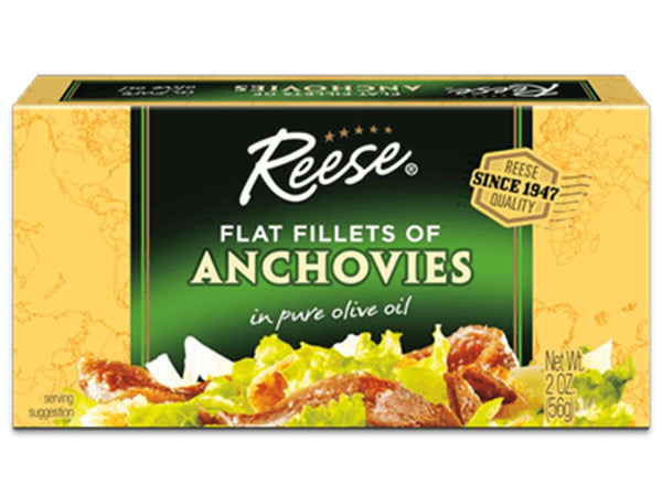 REESE FLAT ANCHOVIES IN PURE OLIVE OIL, 2 OZ