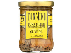 TONNINO TUNA, PACKED IN OIIVE OIL WITH LEMON & PEPPER , GLASS JAR, 6.7 OZ