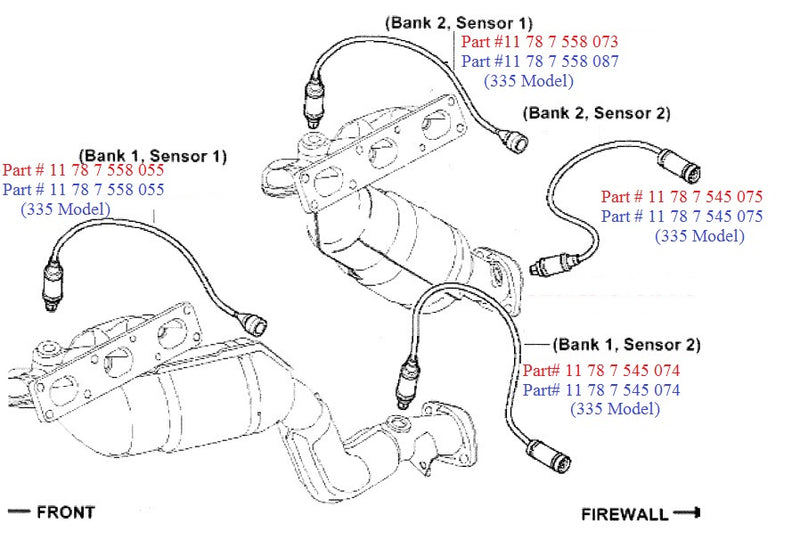 BMW 1-Series Pre Cat Oxygen Sensor OEM 11787558055 or 11787558073 - OEMBimmerParts