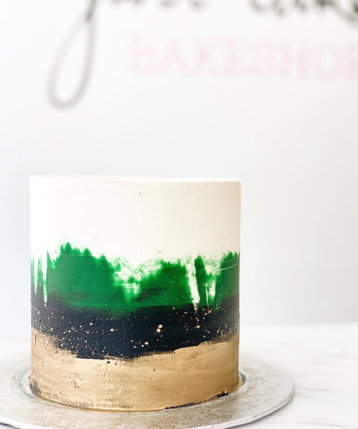 Watercolor & Gold Buttercream Cake