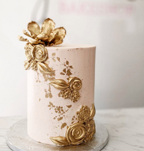 Load image into Gallery viewer, Gilded Gold Floral Cake