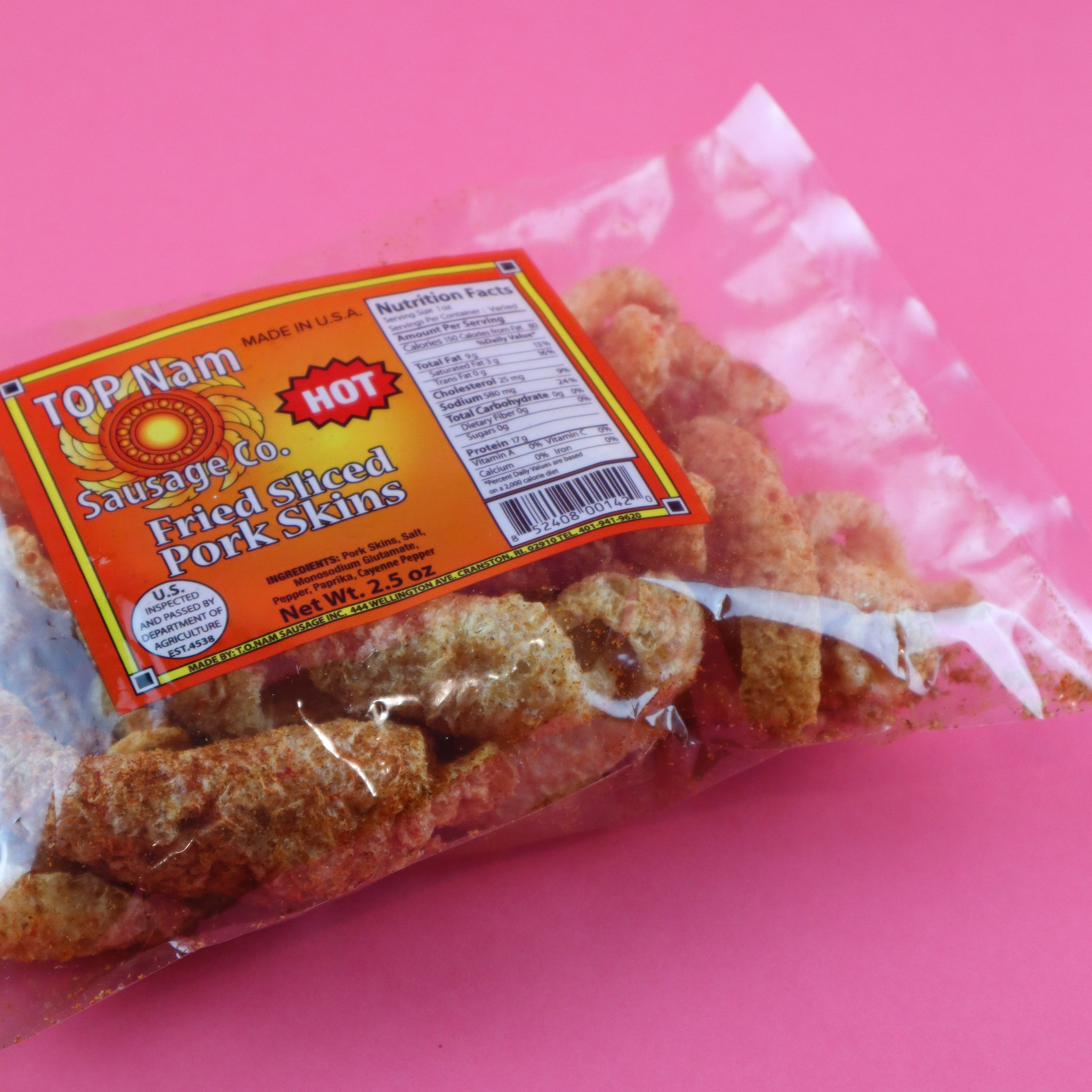 TOP NAM SAUSAGE CO SLICED PORK SKINS (SPICY)