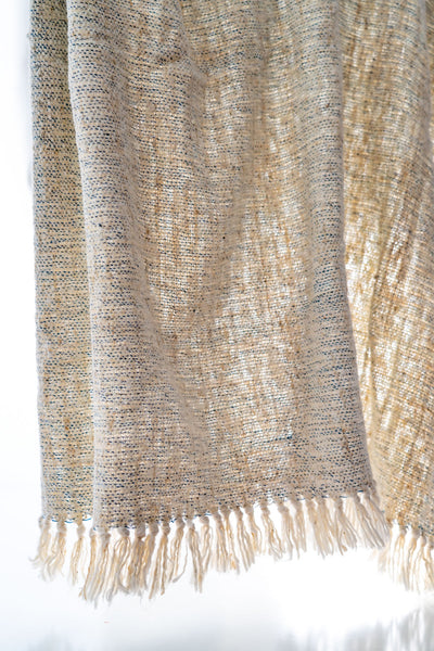 40in x 74in fringe thick weave hand woven Shawl / Throw Natural white with light Blue fleck