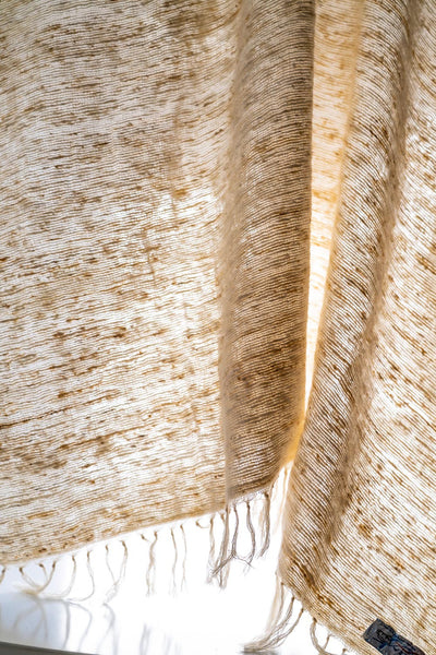41in x 70in fringe woven Shawl / Throw Natural