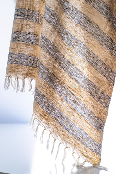 41in x 72in fringe hand woven Shawl / Throw Natural Light Blue strip
