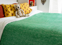 Blanket 61in x 97in Hemmed medium weight hand woven Blanket Green
