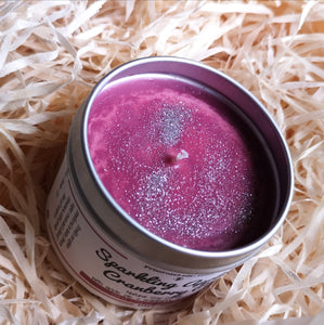 Luxury Silver Aluminium Tin Soy Candle Natural Sparkling Hot Apple Pie Cranberry Fragrance Handcrafted Local Ethical Decorative Purple Maroon Wax Topping Decorative Silver Bio-Glitter