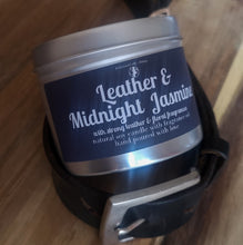 Load image into Gallery viewer, Luxury Tin Soy Candle Natural Gift Leather and Midnight Jasmine Unique Fragrance Handcrafted Local Ethical