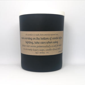 Luxury Black Glass Soy Candle White Wooden Lid Natural Gift Tobacco and Smoked Caramel Unique Fragrance Handcrafted Local Ethical Decorative Tobacco Sprinklesl