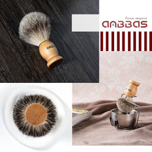 Load image into Gallery viewer, Shaving Brush Set, 4pcs Anbbas Pure Badger Hair Brush Solid Wood Handle with Goat Milk Shaving Soap 100g,Stainless Steel Shaving Stand and 2 Layers Shaving Bowl Kit Perfect for Men Gift
