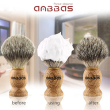 Load image into Gallery viewer, Anbbas Shaving Brush, Handmade Pure Badger Hair Brush with Natural Manchurian Ash Wood Handle for Men Traditional Wet Shaving Starer
