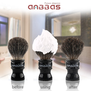 Anbbas Super Black Badger Shaving Brush with Resin Handle Medium Size Traditional Wet Shaving for Men