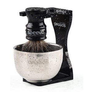 Shaving Bowl and Stand Set, Anbbas Dia 3.2inches 2 Layers Stainless Steel Shaving Bowl with Black Acrylic Shaving Brush Holder Fit 1.2inches Knot Brush Kit Perfect for Classic Wet Shave