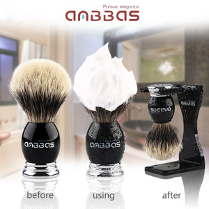 7IN1 Set,Shaving Brush,Stand,Mug and Soap,Straight Razor and Case with 10 Blades